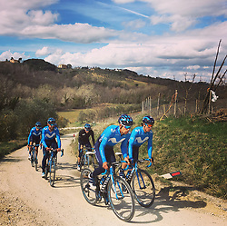 March 8, 2019 - Siena, Italy - Movistar Team riders pictured during a training ahead of the Strade Bianche one day cycling race in Siena, Italy, Friday 08 March 2019...BELGA PHOTO ANN BRAECKMAN (Credit Image: © Ann Braeckman/Belga via ZUMA Press)