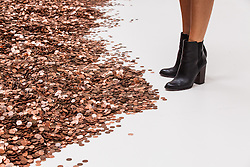 © Licensed to London News Pictures. 26/09/2016. London, UK. £20,436 in penny coins lie on the floor, part of an installation by Michael Dean on show at Tate Britain as part of the Turner Prize exhibition. Anthea Hamilton, Helen Marten and Josephine Pryde are also shortlisted for the Turner Prize 2016, one of the most prestigious prizes in contemporary British art. Photo credit: Rob Pinney/LNP