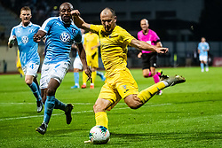 Tonci Mujan of NK Domzale and Fouad Bachirou of Malmo FF during Football match between NK Domzale and Malmo FF in Second Qualifying match of UEFA Europa League 2019/2020, on July 25th, 2019 in Sports park Domzale, Domzale, Slovenia. Photo by Grega Valancic / Sportida