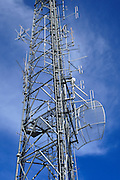 Microwave antenna and communications array for the cellular telephone system on a tower <br />