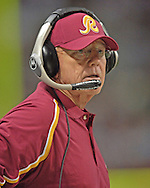 Washington Redskins head coach Joe Gibbs on the sidelines in the second half against St. Louis, at the Edward Jones Dome in St. Louis, Missouri, December 4, 2005.  The Redskins beat the Rams 24-9.