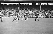 All Ireland Senior Football Championship Final, Kerry v Down, 22.09.1968, 09.22.1968, 22nd September 1968, Down 2-12 Kerry 1-13, Referee M Loftus (Mayo)..Kerry faward L. Prendeigast (Left) holds off Down defender as another Kerry faward lifts off the ball from the ground,