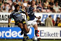 Fotball, 25. juli 2004, Tippeligaen, Lillestrøm - Viking, Emille Baron, Lillestrøm, og Peter Kovacs, Viking