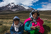 Chimborazo Volcano (Highest mountain in Ecuador) & Indians. Rosa Concha & David<br /> Andes<br /> ECUADOR, South America