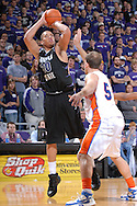 Jan 07, 2008; Manhattan, KS, USA; Kansas State Wildcats forward Michael Beasley (30) scores two of his game high 25 points over Savannah State Tigers forward Bjorn Bohley (54) in the second half at Bramlage Coliseum in Manhattan, KS. Kansas State defeated Savannah State 85-25. Mandatory Credit: Peter G. Aiken-US PRESSWIRE