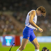 BRUSSELS, BELGIUM:  September 3:   Armand Duplantis of Sweden reacts after a failed attempt at a world record height of 6.19m during the pole vault competition at the Wanda Diamond League 2021 Memorial Van Damme Athletics competition at King Baudouin Stadium on September 3, 2021 in  Brussels, Belgium. (Photo by Tim Clayton/Corbis via Getty Images)