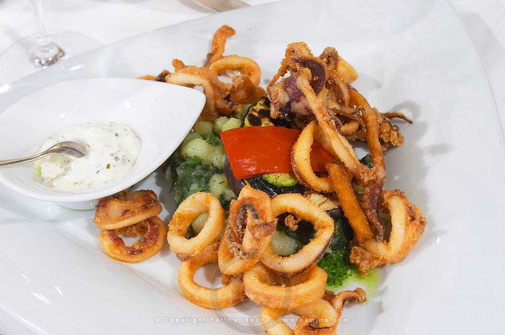Deep fried calamares calamari octopus with vegetables and sauce on a white plate from the luxury Excelsior Hotel and Spa restaurant terrace Dubrovnik, old city. Dalmatian Coast, Croatia, Europe.