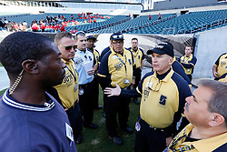 Gameday staff members prepare for the game between the San Diego Chargers and the Philadelphia Eagles at Lincoln Financial Field in Philadelphia, Pennsylvania. (Photo by Brian Garfinkel)