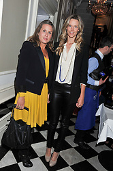 Left to right, GERALDINE APPONYI and OLIVIA HUNT at a reception hosted by Beulah London and the United Nations to launch Beulah London's AW'11 Collection 'Clothed in Love' and the Beulah Blue Heart Campaign held at Dorsia, 3 Cromwell Road, London SW7 on 18th October 2011.