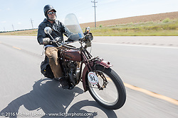 Rich Rau of Oregon riding his 1916 Indian during the Motorcycle Cannonball Race of the Century. Stage-8 from Wichita, KS to Dodge City, KS. USA. Saturday September 17, 2016. Photography ©2016 Michael Lichter.