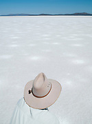 Ranger at Lake Gairdner, dried up to create a salt flat, Gawler Ranges, South Australia, Australia