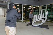 April 1, 2016; Indianapolis, Ind.; Adriana Dent and Alysha Devine pose for a photo at the Women's Final Four Salute at the Indianapolis Motor Speedway.