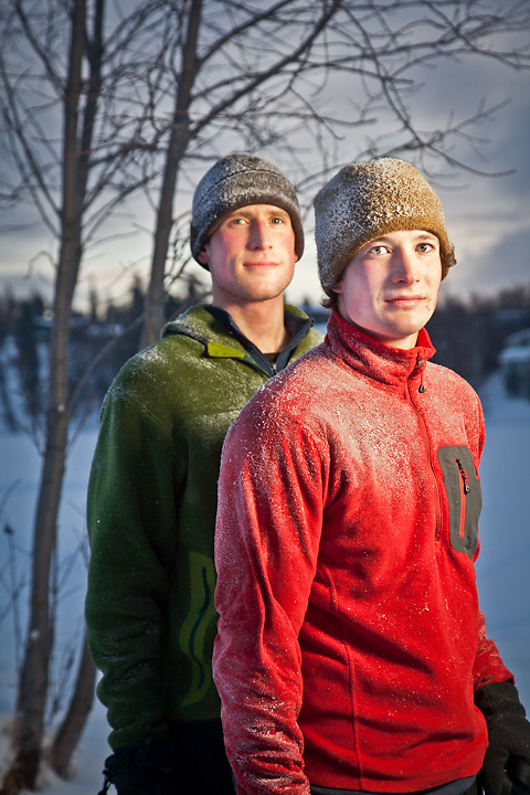 Joggers, Ben and Sam Muse, on the Tony Knowles Coastal Trail near Westchester Lagoon, Anchorage