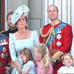 The Duke and Duchess of Cambridge with (left to right) Princess Charlotte, Savannah Phillips and Prince George on the balcony of Buckingham Palace, in central London, following the Trooping the Colour ceremony at Horse Guards Parade, as Queen Elizabeth II celebrates her official birthday.