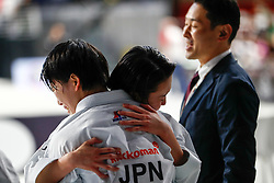 November 11, 2018 - Madrid, Madrid, Spain - Japan Team win golg medal and win the tournament of female Kata Team during the Finals of Karate World Championship celebrates in Wizink Center, Madrid, Spain, on November 11th, 2018. (Credit Image: © AFP7 via ZUMA Wire)