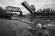 Rail draw bridge at the Ballard Locks in Seattle.