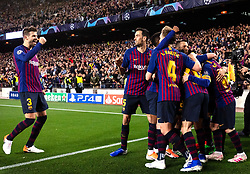 BARCELONA, May 2, 2019  FC Barcelona's players celebrate during the UEFA Champions League semifinal first leg soccer match between FC Barcelona and Liverpool in Barcelona, Spain, on May 1, 2019. Barcelona won 3-0. (Credit Image: © Joan Gosa/Xinhua via ZUMA Wire)