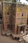 Africa, Ethiopia, Lalibela, Exterior of Rock Hewn church of Bet Giyorgis, (St. George)