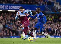 Football - 2019 / 2020 Premier League - Chelsea vs. West Ham United<br /> <br /> Ngolo Kante (Chelsea FC) races forward chased by Sebastien Haller (West Ham United) at Stamford Bridge <br /> <br /> COLORSPORT/DANIEL BEARHAM