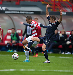 Hamilton's Mickeal Antoine-Curier and Falkirk's Will Vaulks.<br /> Hamilton 2 v 0 Falkirk, Scottish Championship played today at New Douglas Park.<br /> ©Michael Schofield.