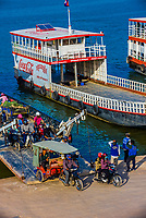 Ferry boats on the Tonle Sap River, Phnom Penh, Cambodia.