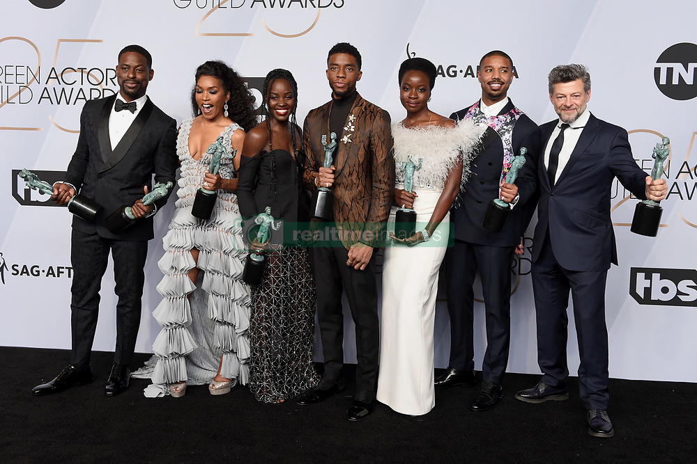 Sterling K. Brown, Angela Bassett, Lupita Nyong'o, Chadwick Boseman, Danai Gurira, Michael B. Jordan, and Andy Serkis from 'Black Panther' pose in the press room during the 25th Annual Screen Actors Guild Awards at The Shrine Auditorium on January 27, 2019 in Los Angeles, CA, USA. ©Lionel Hahn/ABACAPRESS.COM