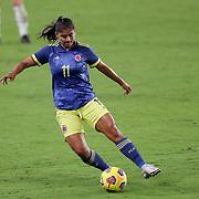 ORLANDO, FL - JANUARY 22:  Catalina Usme #11 of Columbia controls the ball against United States at Exploria Stadium on January 22, 2021 in Orlando, Florida. (Photo by Alex Menendez/Getty Images) *** Local Caption *** Catalina Usme