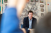 © Licensed to London News Pictures. 14/04/2015. Seaford, UK. Deputy Prime Minister and Leader of the Liberal Democrats, Nick Clegg joins local MP Norman Baker to visit Craddle Hill Primary School, Seafood, Sussex, today 13th April 2015, to participate with pupils in a workshop that aims to involve children and young people in community planning.. Photo credit : Stephen Simpson/LNP