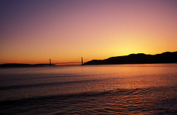 California, San Francisco: A sunset visible from the middle of the San Francisco Bay..Photo #: 16-casanf310.Photo © Lee Foster 2008