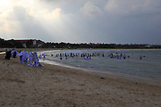 Muslim girls playing in the sea and beach fully clothed Pasikudah Bay, Eastern Province, Sri Lanka, Asia