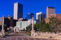 Civic Center Park with downtown Denver in background, Denver, Colorado USA.
