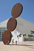 Israel, Tel Aviv urban statue (Rising) by Menashe Kadishman in front of the Habimah National theater
