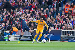 13.04.2016, Estadio Vicente Calderon, Madrid, ESP, UEFA CL, Atletico Madrid vs FC Barcelona, Viertelfinale, Rueckspiel, im Bild Atletico de Madrid's Gabi and Juanfran and FC Barcelona Neymar // during the UEFA Champions League Quaterfinal, 2nd Leg match between Atletico Madrid and FC Barcelona at the Estadio Vicente Calderon in Madrid, Spain on 2016/04/13. EXPA Pictures © 2016, PhotoCredit: EXPA/ Alterphotos/ BorjaB.Hojas<br /> <br /> *****ATTENTION - OUT of ESP, SUI*****