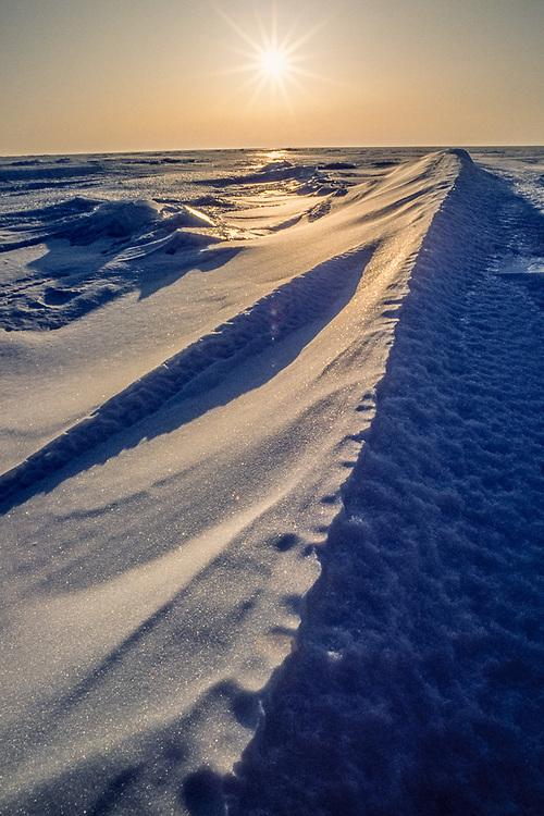 Frozen shoreline, April, Chukchi Sea, Cape Krusenstern National Monument, Alaska, USA