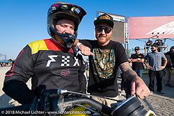Roland Sands before the start of the Hooligan flat track racing at the Buffalo Chip during the 78th annual Sturgis Motorcycle Rally. Sturgis, SD. USA. Wednesday August 8, 2018. Photography ©2018 Michael Lichter.