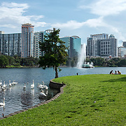 Lake Eola Park remains almost empty due to the Coronavirus (Covid-19) outbreak on Tuesday, July 14, 2020 in Orlando, Florida. There are  292,000 confirmed positive cases in Florida according to the Florida Department of Health with a current death toll of 4,409. (Alex Menendez via AP)