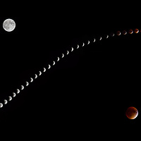 Naturalistic composite image of the first half of the September 2015 Supermoon Full Lunar Eclipse. Images taken every 2 minutes in the vicinity of Tarrytown, NY.