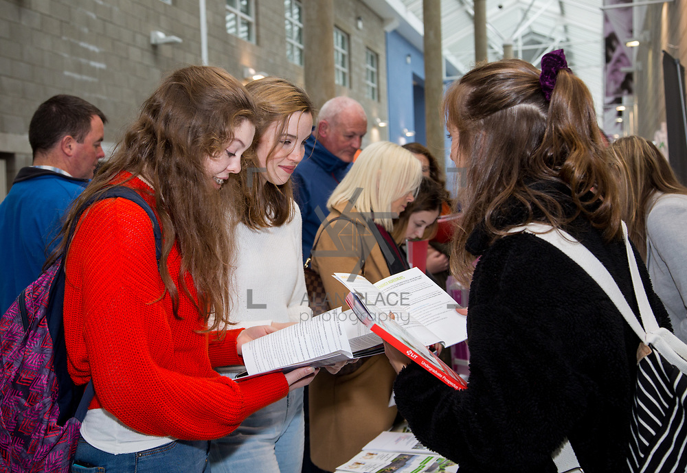 20.10.17.            <br /> Enjoying the LIT (Limerick School of Technology) open day were, Cliodhna O'Donnell, Sinead Gaughran and Lily Power Ahern, Mount Temple Dublin. Picture: Alan Place