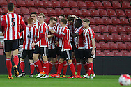 Southampton Sam Gallagher celebrates his goal 1-0 during the Barclays U21 Premier League match between U21 Southampton and U21 Manchester United at the St Mary's Stadium, Southampton, England on 25 April 2016. Photo by Phil Duncan.