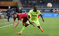 Nicolas De Preville (Bordeaux) and Jean-Luc Dompe (Gent) fight for the ball during the first leg of the Uefa Europa League play-off match between Kaa Gent and Girondins de Bordeaux on August 23, 2018 in Ghent, Belgium, Photo Vincent Van Doornick / Isosport / Pro Shots / ProSportsImages / DPPI