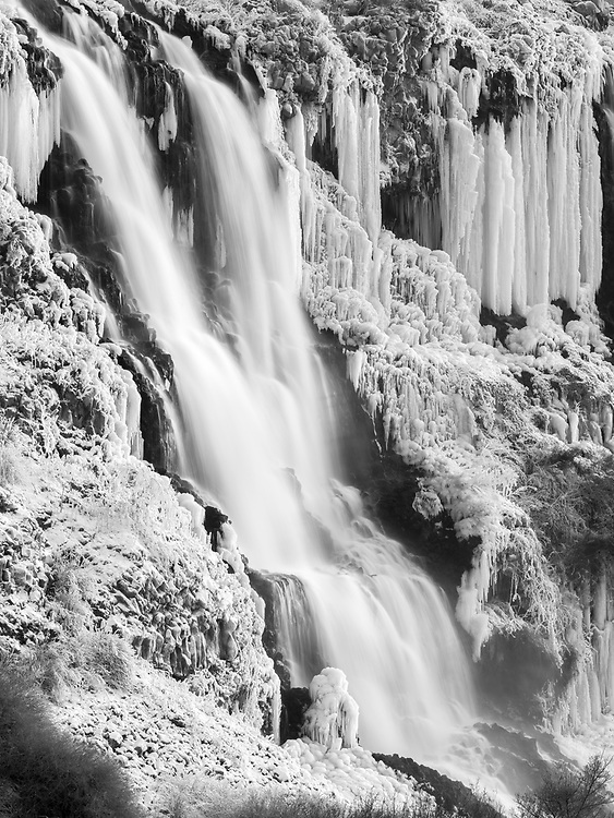 Open Edition Prints B&W<br /> Thousand Springs Preserve near Hagerman along the Snake River in Southern Idaho is frozen solid with ice and winter temperatures