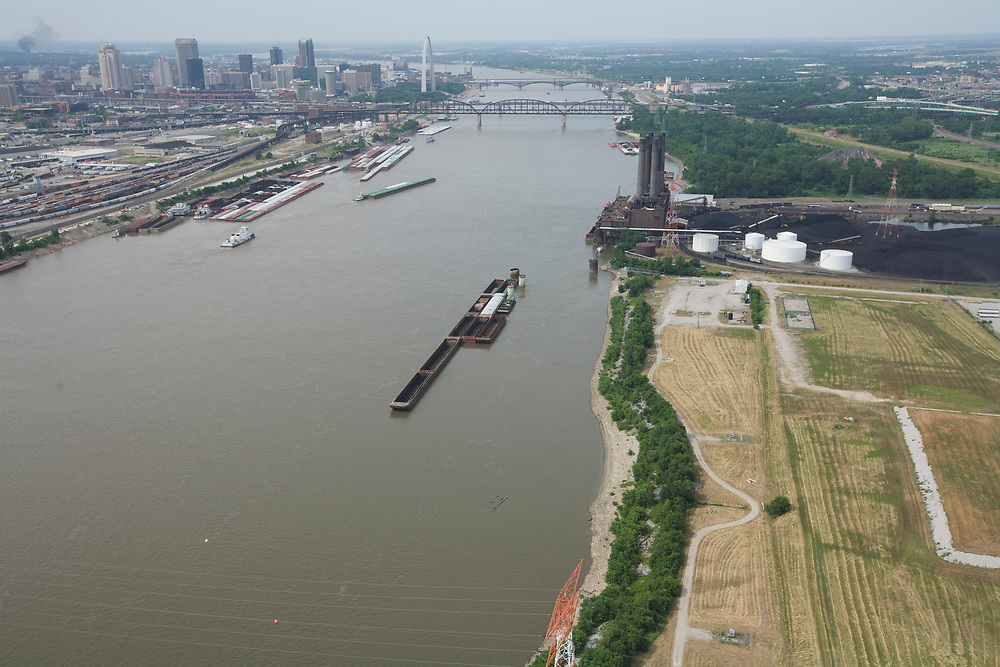 The Mississippi River in St. Louis, Missouri.