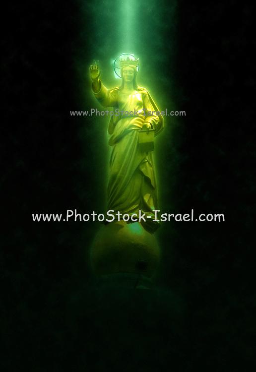 Digitally enhanced image of the Virgin Mary statue Messina, sicily,