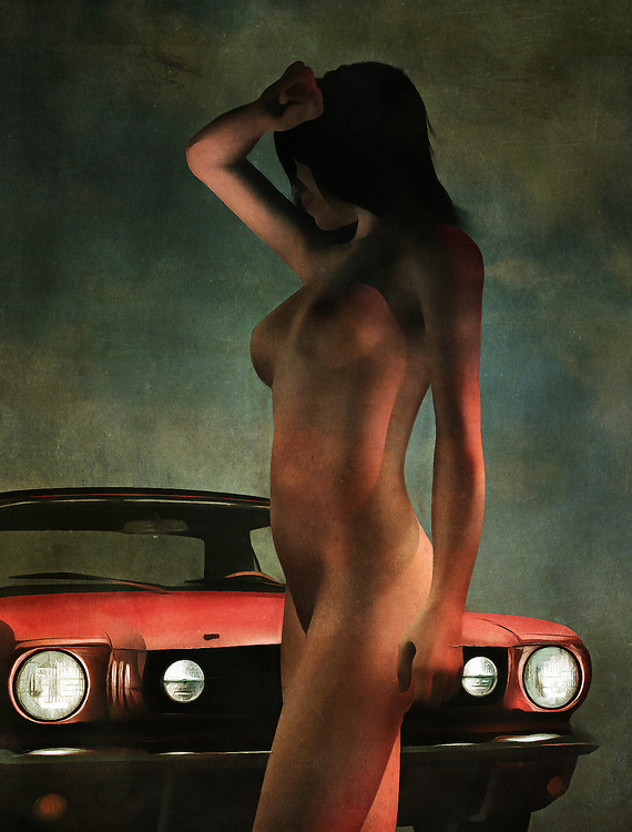 Two striking images come for us, from the moment we first set eyes upon this emotionally charged, compelling acryl on canvas piece. We see an iconic Ford Mustang parked. In front of this classic car stands a beautiful nude woman. The woman has a hand above her eyes, and she is looking to something. It stands to reason that she wants to know who is driving the car. Unfortunately, we don't know either, so we can't say with any kind of certainty what is going to happen next. She is clearly captivated by something. Available in the form of wall art. .<br /> <br /> BUY THIS PRINT AT<br /> <br /> FINE ART AMERICA<br /> ENGLISH<br /> https://janke.pixels.com/featured/nude-standing-before-ford-mustang-jan-keteleer.html