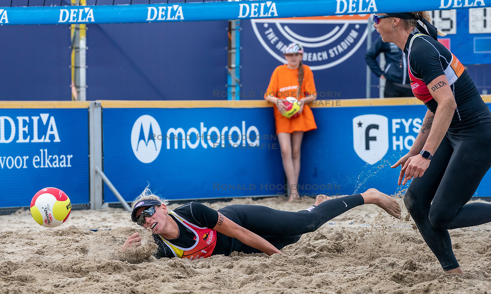 Sanne Keizer in action. The Final Day of the DELA NK Beach volleyball for men and women will be played in The Hague Beach Stadium on the beach of Scheveningen on 23 July 2020 in Zaandam.