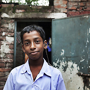 Rasel lives near the  railway tracks in Tejgaon in Dhaka, Bangladesh. Rasel is hearing impaired but the charity CSID has provided hime with hearing aid, school uniform and the school fees. Rasel want to be either a police man or a lawyer when he grows up.