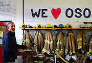 President Obama speaks inside the Oso Fire Department after surveying the damage from the March 22, 2014 mudslide. The day included news of $7.5 million from the Federal Emergency Management Agency being released to help Snohomish County absorb the disaster's costs. (Lindsey Wasson / The Seattle Times)