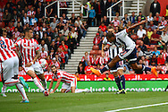Jose Salomon Rondon of West Bromwich Albion shoots at goal but sees his shot blocked. Barclays Premier League match, Stoke city v West Bromwich Albion at the Britannia stadium in Stoke on Trent, Staffs on Saturday 29th August 2015.<br /> pic by Chris Stading, Andrew Orchard sports photography.