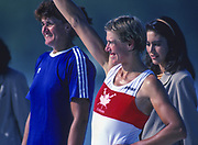 Barcelona Olympic Games 1992<br /> Olympic Regatta - Lake Banyoles<br />  CAN W1X, Silken LAUMANN  on awards dock.; Women's Single Medals,  {Mandatory Credit: © Peter Spurrier/Intersport Images]