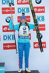 Olga Podchufarova (RUS) celebrates at medal ceremony after placed third  during Women 12.5 km Mass Start at day 4 of IBU Biathlon World Cup 2015/16 Pokljuka, on December 20, 2015 in Rudno polje, Pokljuka, Slovenia. Photo by Vid Ponikvar / Sportida